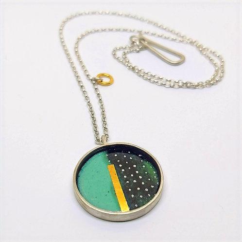 Small lichen and black dotty pendant.
