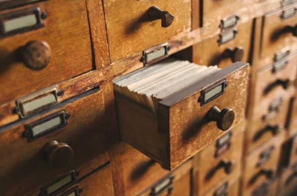 A card catalogue, an index for helping researchers locate records