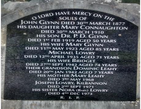 Irish family headstone, Tuam, Co. Galway