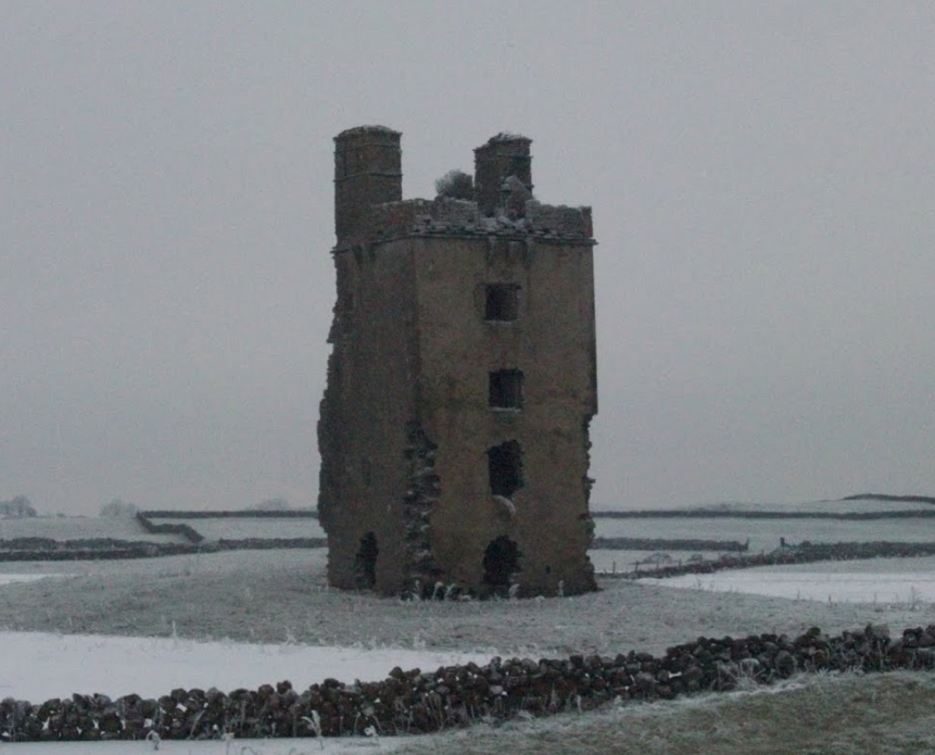 Barnaderg Castle in the snow