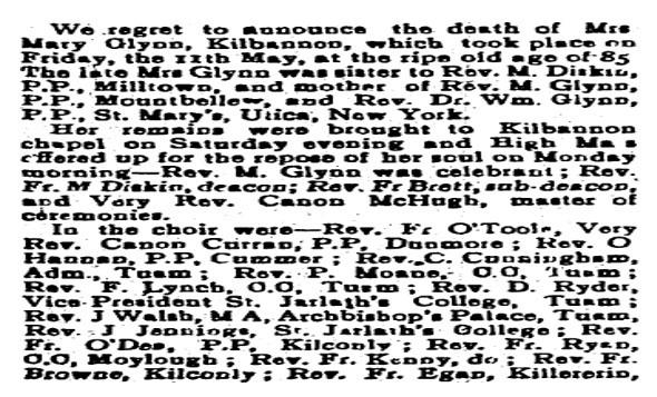 Obituary of Mary Glynn, Kilbannon, Tuam, Co. Galway