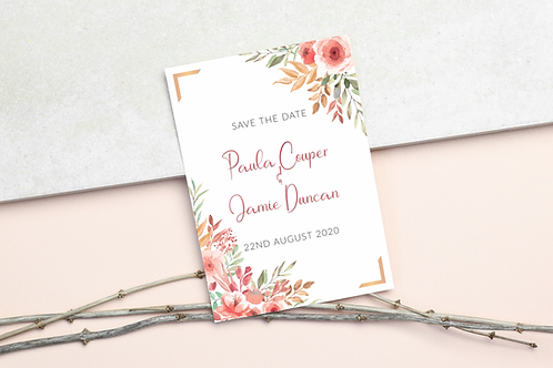 Pink Floral Save the Dates