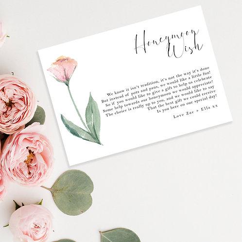 Watercolour Flower Wedding Honeymoon Wish Card Invite