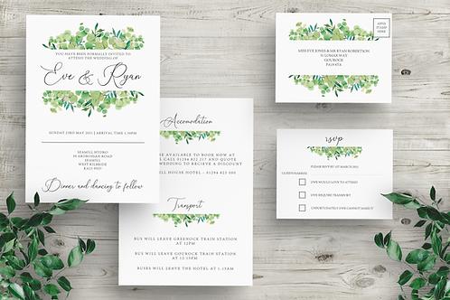 Elegant Foliage Invite & RSVP