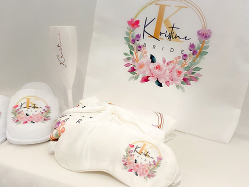 Silver Robe Package - Robe, Glass, Slippers, Eyemask & Tote Bag