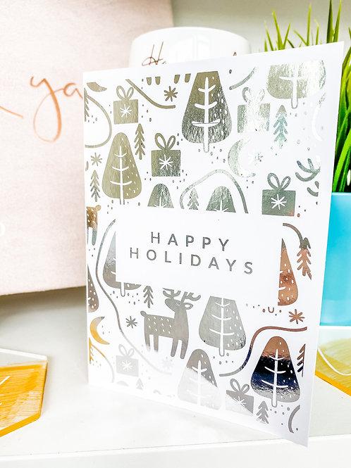 A6 Foiled Happy Holidays Card