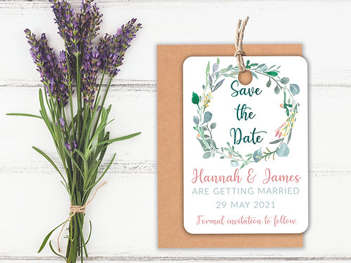 Watercolour Wreath Save the Dates A7