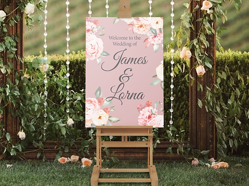 Soft Floral Pink Welcome Sign