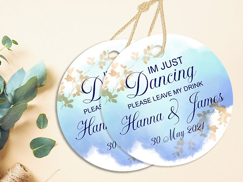 Personalised Gold & Blue Watercolour I'm Just Dancing Coaster 20 Pack