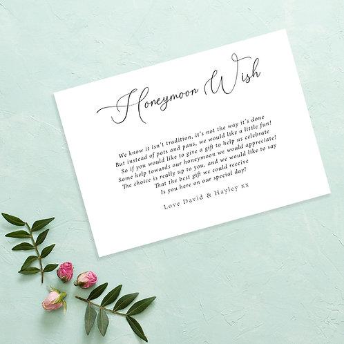 Simple Wedding Honeymoon Wish Card Invite