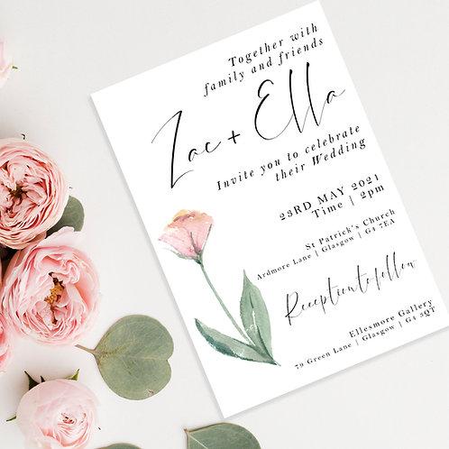 Watercolour Flower Wedding Invite