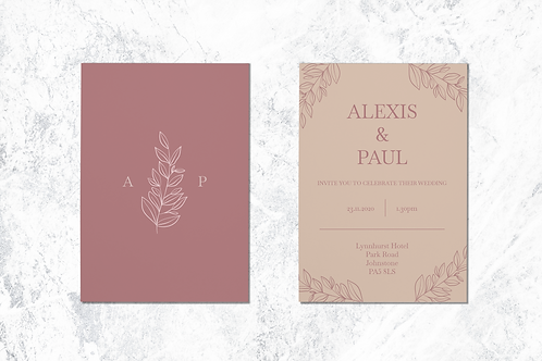 Elegant A5 Muted Wedding Invite