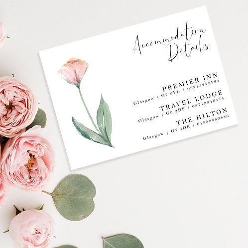 Watercolour Flower Wedding Accommodation Card Invite