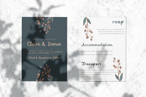 Elegant A5 Grey Floral Wedding Invite