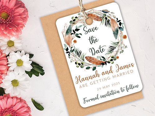 Rustic Feather Save the Dates A7