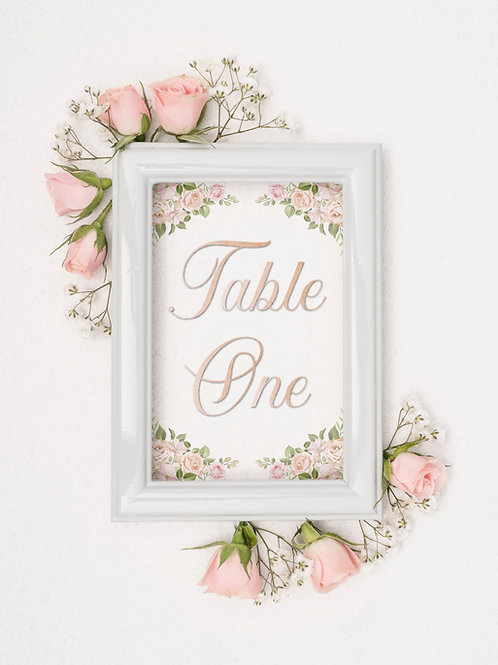 Pink Vintage Table Numbers/Names