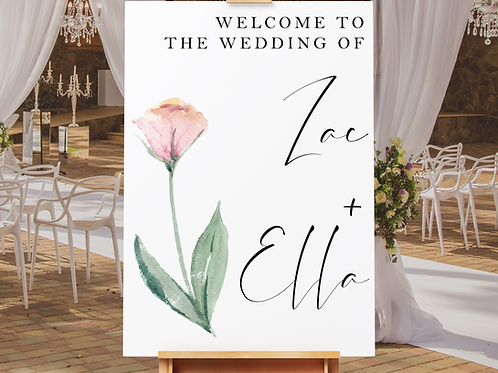 Watercolour Flower Wedding Welcome Sign