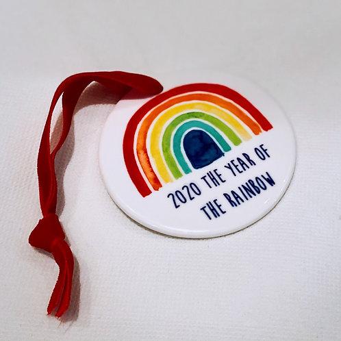 Rainbow Ceramic Christmas Bauble