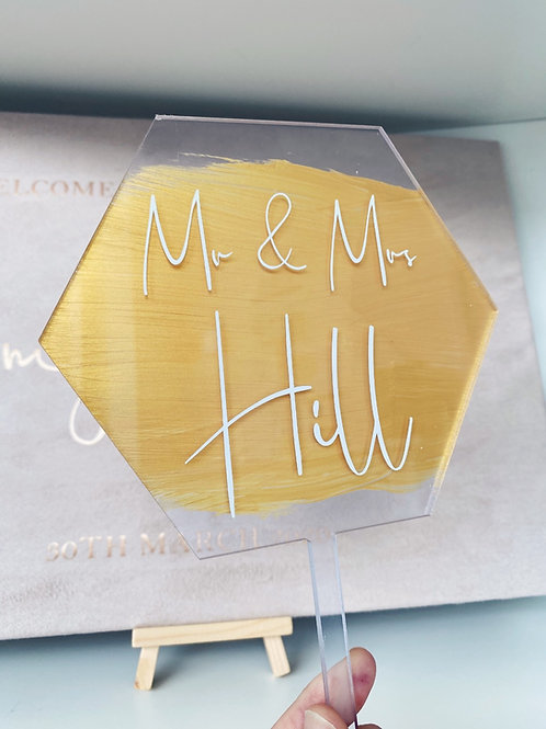Acrylic Painted Hexagon Cake Topper