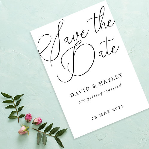 Plain Caligraphy Save the Dates A6