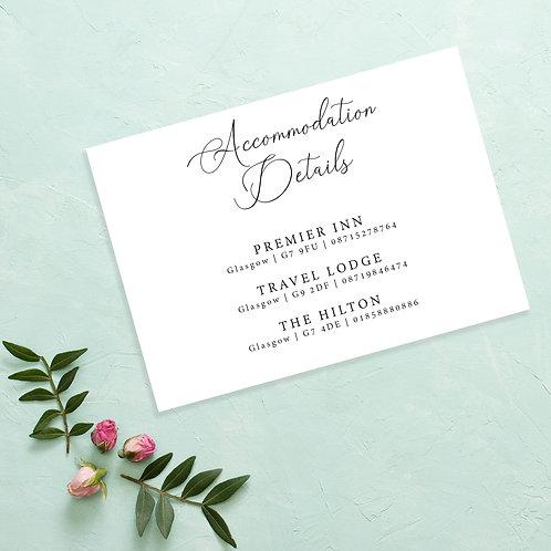 Simple Wedding Accommodation Card Invite