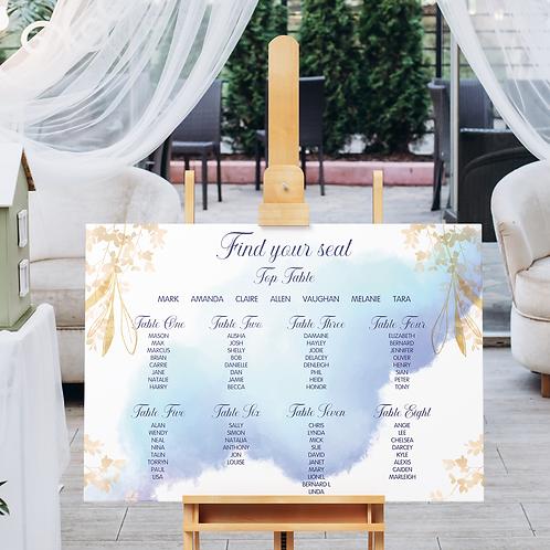 Blue & Gold Watercolour Table Plan