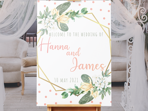 Gold and Pink Wedding Welcome Sign
