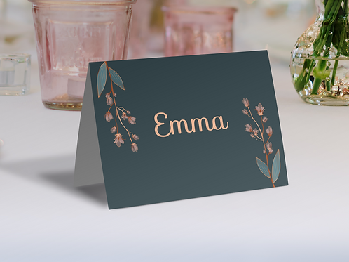 Elegant Tent Fold Grey Floral Name Place