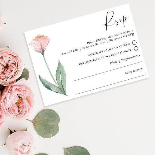 Watercolour Flower Wedding RSVP Card Invite