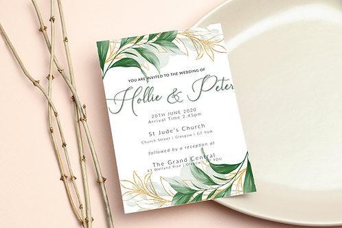Green & Gold Foliage Wedding Invite