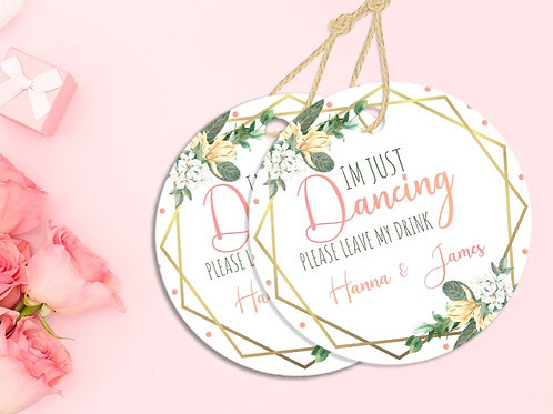 Personalised Gold and Pink I'm Just Dancing Coaster 20 Pack