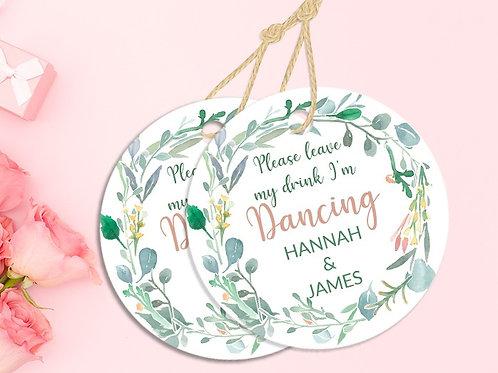 Personalised Watercolour Wreath I'm Just Dancing Coaster 20 Pack