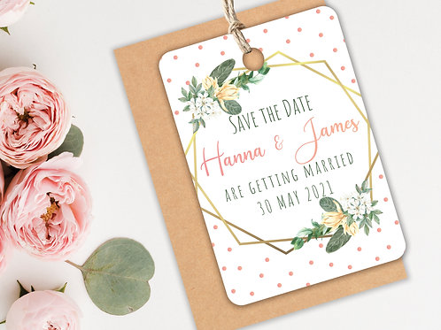 Gold & Pink Polka Dot Save the Dates A7