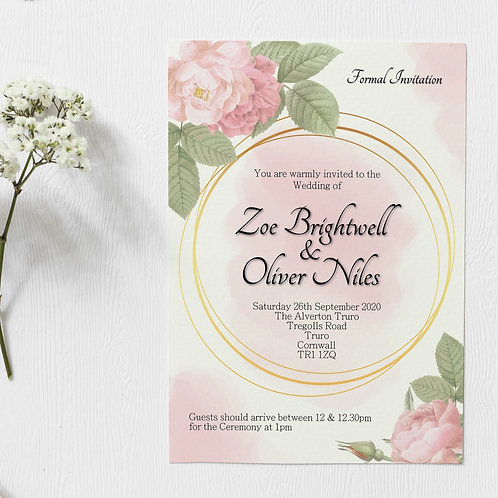 Pink & Gold Floral Wedding Invite