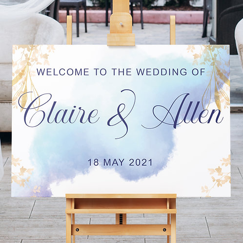 Gold & Blue Watercolour Welcome Board