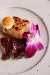 beef carpaccio with duckfat potato and quail egg