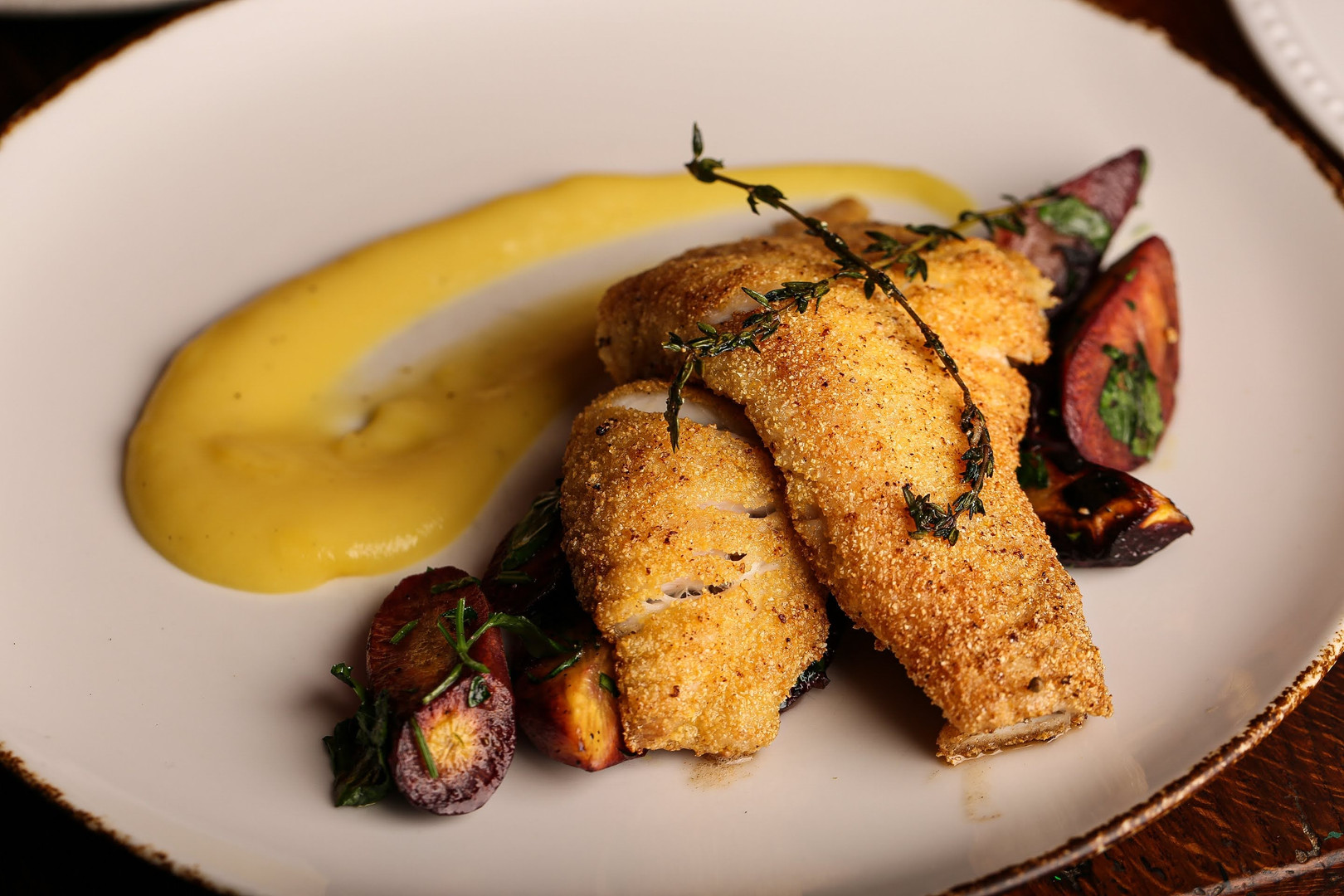 cornmeal crusted skatewing with roasted carrots and thyme