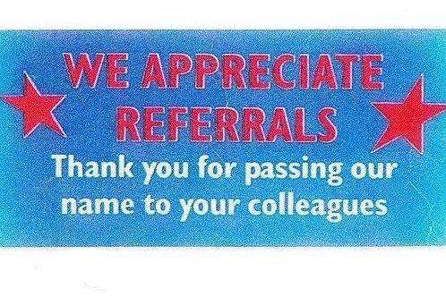 We Appreciate Referrals Stickers  (1160)