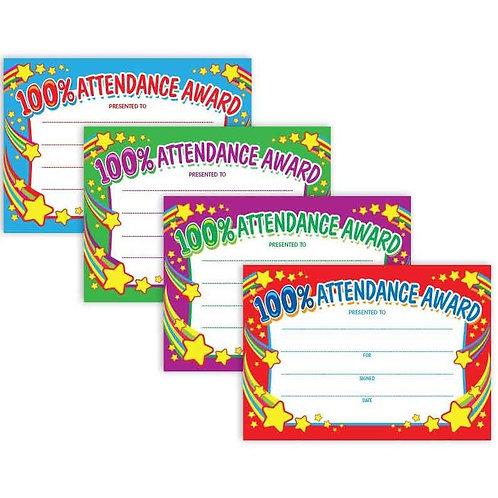 20pk 100% Attendance Award Certificates  (6120)