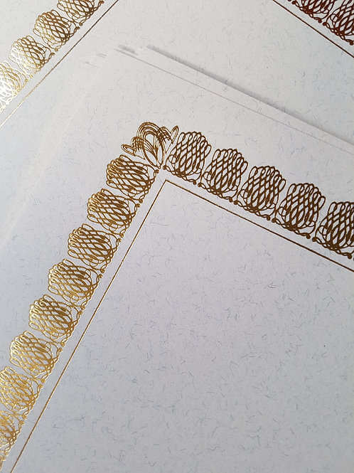 A4 Natural Fibre Fleck Testa'mur with Gold Foil Border  (5029)