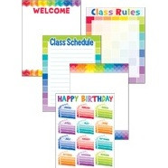 Rainbow Coloured Classroom Essentials Chart Pack 4710