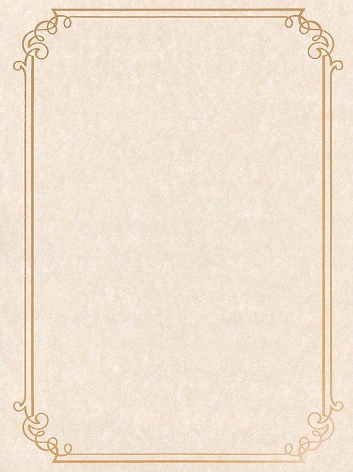 A4 Natural Parchment Testa'mur with Gold Foil Border  (5025)