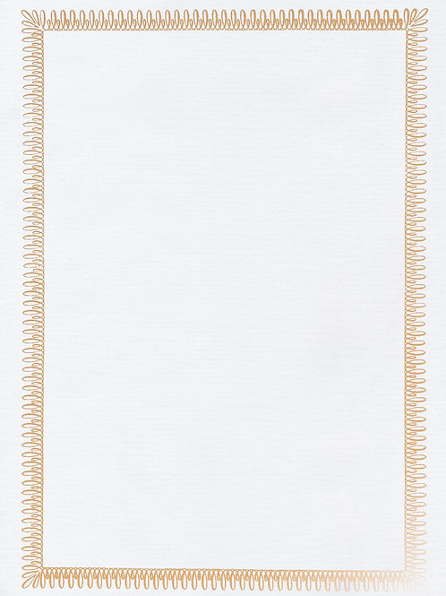 A4 White Antique Testa'mur with Gold Foil  (5026)