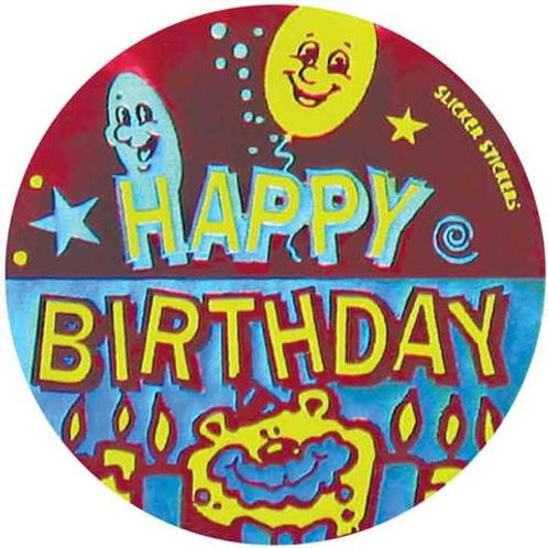 Happy Birthday Metallic Stickers  (549)