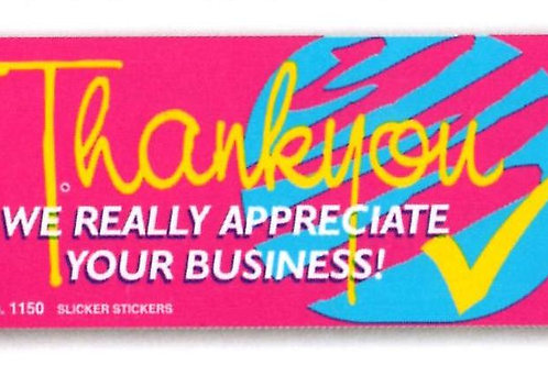 We really Appreciate your business Pink Stickers  (1150)