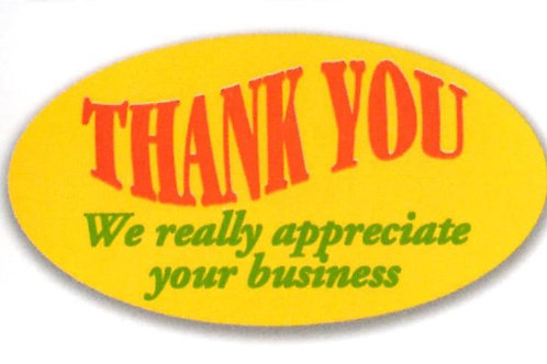 Thank you We really Appreciate your business Stickers  (1314)