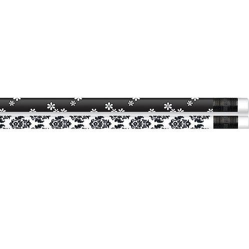 12pk Black & White Super Style Pencils  (52190)
