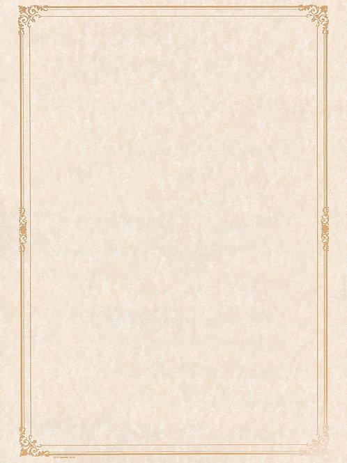 A4 Natural Parchment Testa'mur with Gold Foil Border  (5245)