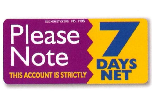 7 Day Account Stickers  (1106)