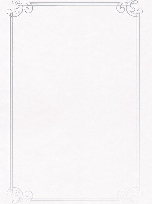 A4 White Parchment Testa'mur with Silver Foil Border  (5242)